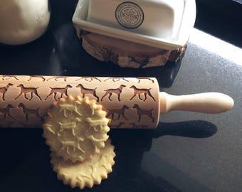 WEIMARANER  rolling pin, embossing rolling pin, engraved rolling pin by laser, dog rolling pin