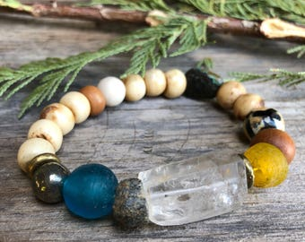 Rare Excavated Granite from Mala African Vintage Recycled Sea  & Trade Glass Tribal Brass Pyrite Agates Sleep Beauty Turquoise Carved Bone