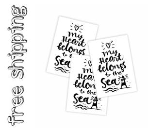 Set of 3 temporary tattoos «My heart belongs to the sea». Nautical kids body stickers with lettering. Pirate and mermaid party favors. TT214
