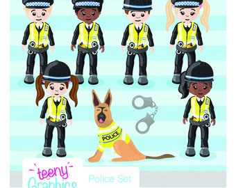 Police Role play Clip Art, Kids crafts, little, INSTANT download, crafts, stamp, fun role-playing clipart, dog, police dog, teenyGraphics