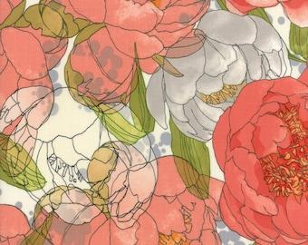 Moda BLUSHING PEONIES Quilt Fabric 1/2 Yard By Robin Pickens - Cloud 48610 11
