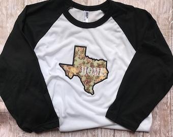 Womens Texas Shirt; Texas Home Shirt; Womens Raglan; Texas Baseball Tee; Texas Shirt