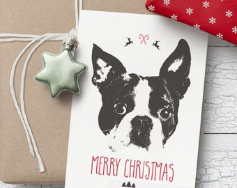 Boston Terrier Christmas card- Blank Christmas card, Boston Terrier Christmas card, Boston Terrier card, Boston Terrier greeting card
