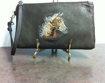 Vintage Leather Wristlet - Enbroidered Horse Head - Leather Pouch - Brown Purse