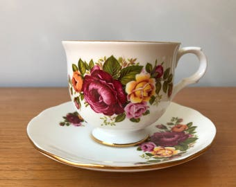 Vintage Sadler Wellington Tea Cup and Saucer, Red and Yellow English Rose Teacup and Saucer, Bone China