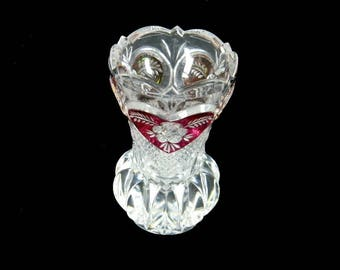 """Enesco  Crystal Red Hearts & Flowers 4"""" Vase NWT made in West Germany 24% Lead Crystal Label"""
