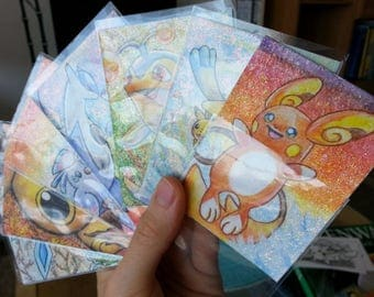 Handmade glitter aceo card with a pokemon of your choice --- commission ---
