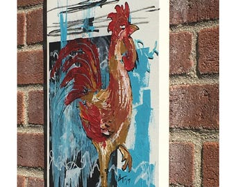 Rooster, Original Acrylic Collage, Vertical Format Painting, Gallus gallus, Animal Painting, Acrylic Painting, Home Decor, Gallinaceous Bird