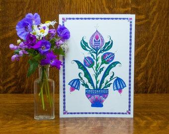 Whimsical flower, botanical print, blank mothers day card, colorful greeting card, floral illustration, folk art, spring flower card,fraktur