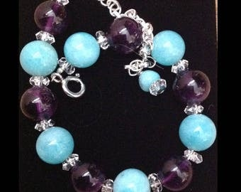 Amethyst & Amazonite Bracelet (adjustable)