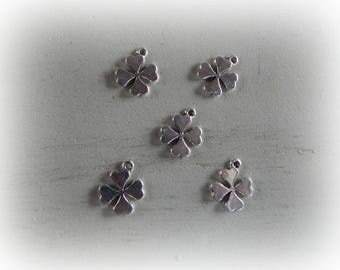 5 18 * 16 mm silver plated 4 leaf clover charms