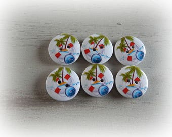 6 buttons wooden life saver boat 20 mm round