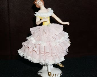 Antique Victorian Dresden Lacy Lady in Pink and White