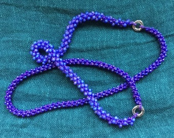 Purple Blue Glass Sterling Silver Beaded Crocheted Necklace