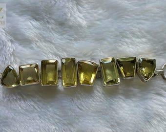 Custom Made Earthmind Lemon Quartz Sterling Silver Bracelet 8 inches Adjustable