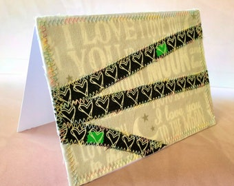 I love you quilted fabric 4x6 blank note card suitable for framing