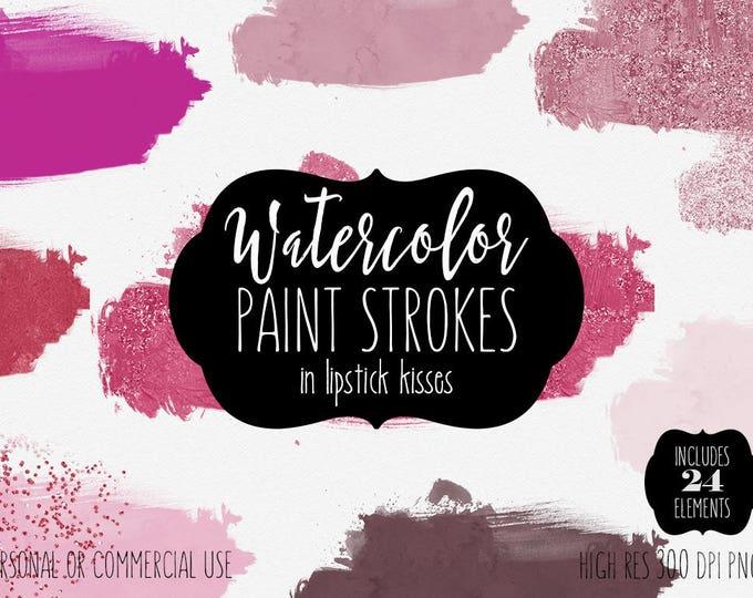 PINK PAINT STROKE Clipart Commercial Use Clipart 24 Watercolor Brush Strokes Mauve Pink Blush Confetti Watercolor Textures Logo Clip Art