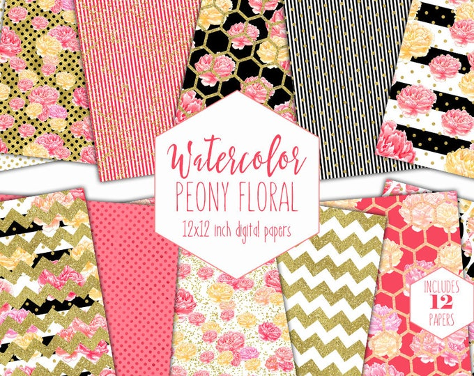 PINK WATERCOLOR FLORAL Digital Paper Pack Black White Stripe Backgrounds Gold Metallic Commercial Use Scrapbook Paper Peony Flower Patterns