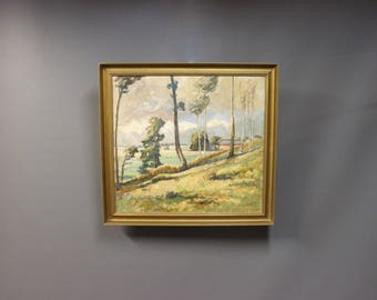 Oil painting on canvas of landscape, 1946