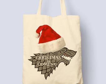 Designer Womens Christmas Is Coming Stark Game Of Thrones Printed Cotton Natural Tote Bag