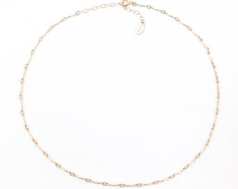 14K or Sterling Silver Ella Choker | Link Chain Choker | Layering Choker | Thin Gold Choker , 64ELC