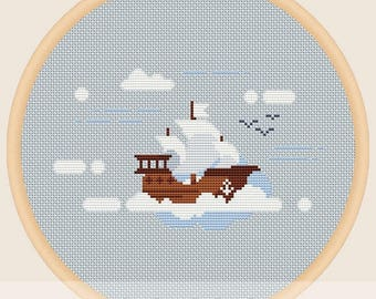 Ship in the sky - Cross stitch pattern