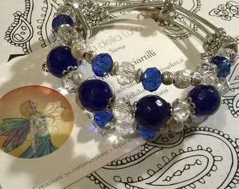 Blue agate and Crystal Cuff Bracelet