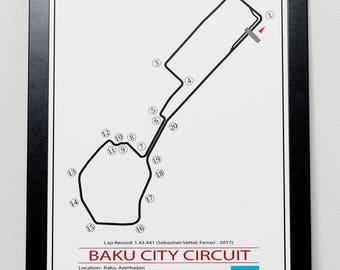 Baku Azerbaijan Grand Prix Track illustration Poster