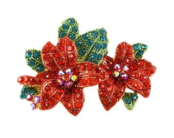 Red Poinsettia Christmas Flowers Brooch
