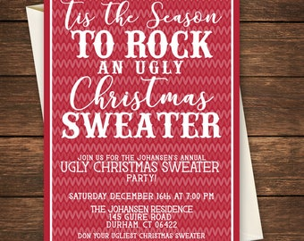Ugly Sweater Party Invitation, Ugly Sweater Invitation, Ugly Christmas Sweater, Ugly Christmas Sweater Invitation-Christmas Party Invitation
