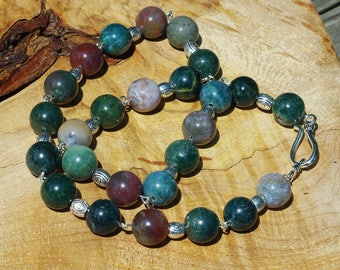 Indian Agate Stone Necklace ~ Large Stone Necklace ~ Hand Wired ~ Tibetan Silver ~ Earth Tones  ~ Bohemian Green and Brown ~ Semi Precious
