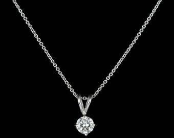 Diamond Pendant Necklace 18ct White Gold 0.60ct Diamond
