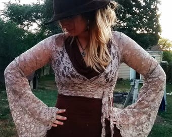 Lace bell sleeve wrap top