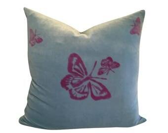 Blue Butterfly Pillow, Insect Pillow, Blue Velvet Pillow, Blue and Pink Pillow Cover, Hand Painted Pillow Cushion, Velvet Sofa Pillow