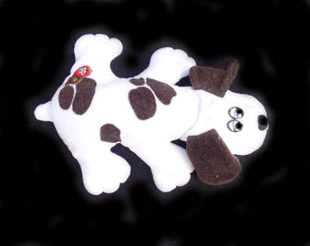 Pound Puppy - 1985 white and brown Pound Puppy - Tonka Pound Puppy = stuffed toy dog - stuffed animal -  # 129