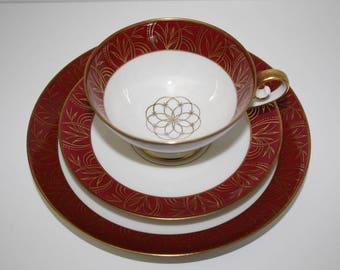 Vintage trio, teacup trio, Tirschenreuth trio,  Bavaria porcelain, collectible trio, china cup, burgundy and gold trio, collectable