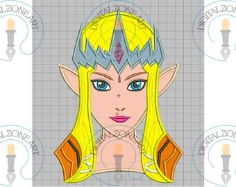 Princess Zelda Ocarina of Time Applique-Princess Zelda Ocarina of Time Design-Machine Embroidery Designs - INSTANT DOWNLOAD