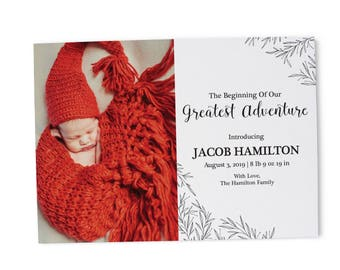 Baby Birth Announcement Card, Baby Announcement Cards, Personalized and Custom Welcome Baby Birth Announcement Cards B3