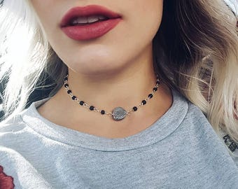"""Silver Druzy • Lava • Essential Oil Diffuser Necklace • 17"""" • 18"""""""