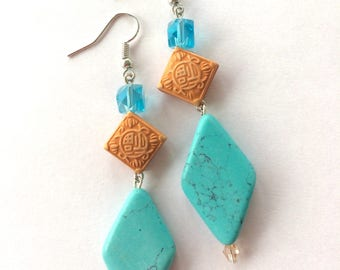 "Turquoise Blue Howlite Stone and Gold Resin Rhombus Diamond Shape Beads with Aqua Blue Crystal Cuboids Dangle Statement Earrings 3.2"" Long"