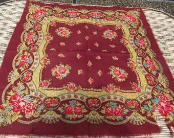 SALE! 10% off romanian wool shawl roumanie Soviet russian scarf Old-Old shawl Floral Ukrainian Gift chale russe Museum ticket for the museum