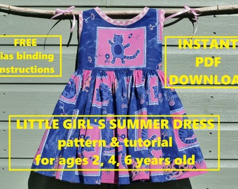 PDF Little Girls Summer Dress sewing pattern tutorial, quick & easy sew, ages 2 4 6 years, instant download
