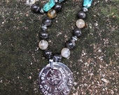 """Beautiful Crystal Necklace with Quartz, Cappuccino Jasper and Turquoise with """"Not All Who Wander Are Lost"""" Compass Pendant ~ All Chakra"""