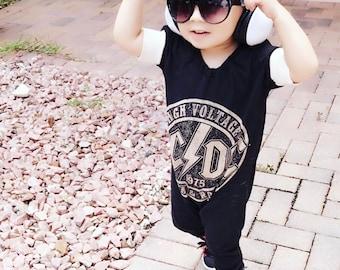 ACDC, baby romper, handmade baby onesie, baby bosysuit, custom baby gift, trendy toddler clothes, rock music, t-shirt romper, baby