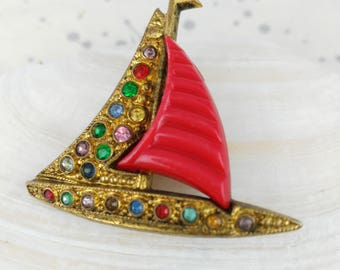 Red Sails Brooch