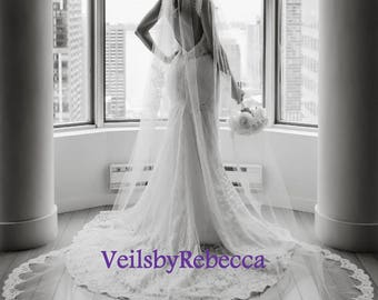 1 tier Cathedral lace veil with lace from fingertip length,Partial lace cathedral wedding veil, long cathedral lace veil V638