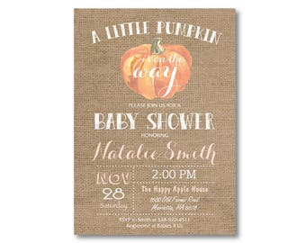 Pumpkin Baby Shower Invitation. Fall Baby Shower Invitation. Burlap Autumn Invitation. Baby Boy or Girl Invite. Printable Digital.
