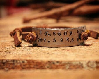 Hand forged hand stamped personalized iron cuff bracelet with adjustable leather band