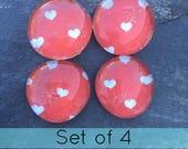 Heart Magnets - Red and White Heart Decor - Heart Kitchen Magents - Heart Polka Dot Magnets - Heart Locker Decor - Heart Office Decor