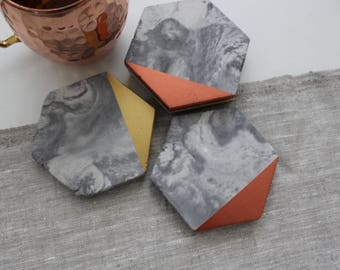 Marble Concrete Hexagon Coasters Dipped Copper Gold